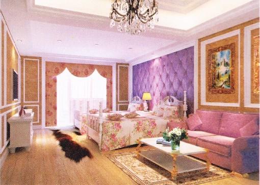 而成的软包效果墙面,是卧室床头背景墙很好的选择