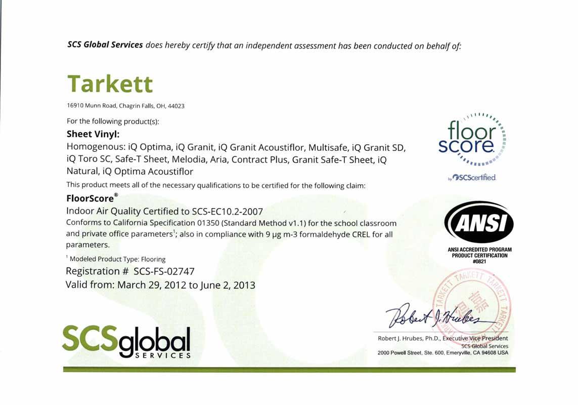 Floorscore®认证的得嘉地板